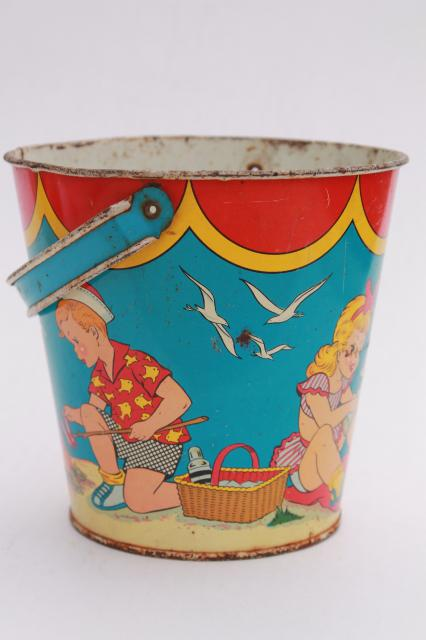 Vintage Tin Toy Sand Pail Bucket Ohio Art Print Metal