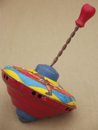Vintage Tin Toy Spinning Top Metal Top W Worn Old