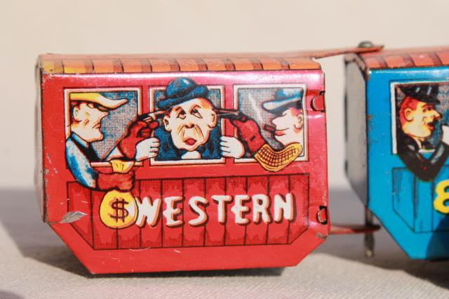 vintage tin toys, Tootsie toy dairy milk truck cars, Western Express train