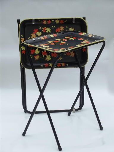 Vintage Tin Tray Tv Tables Folding Snack Tables W