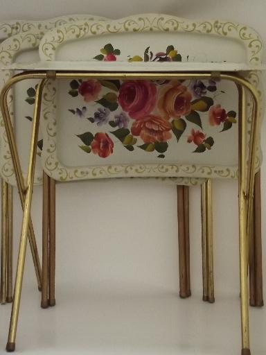 Vintage Tin Tray TV Tables, Folding Snack Tables W/ Shabby Chic Flowers