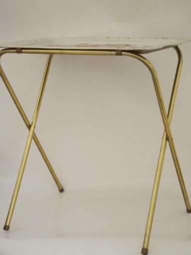 Vintage Tin Tray Tv Tables Folding Snack Tables W Shabby
