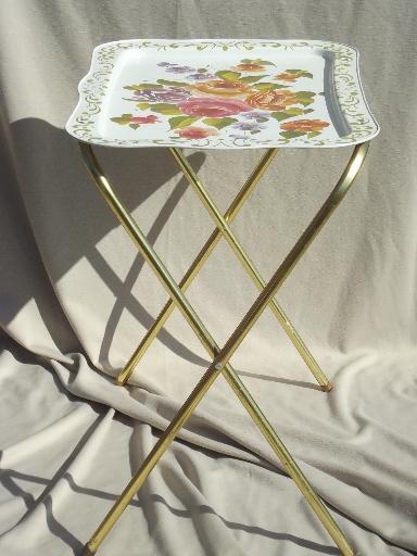 Vintage Tin Tray Tv Tables Retro All Metal Folding Tables