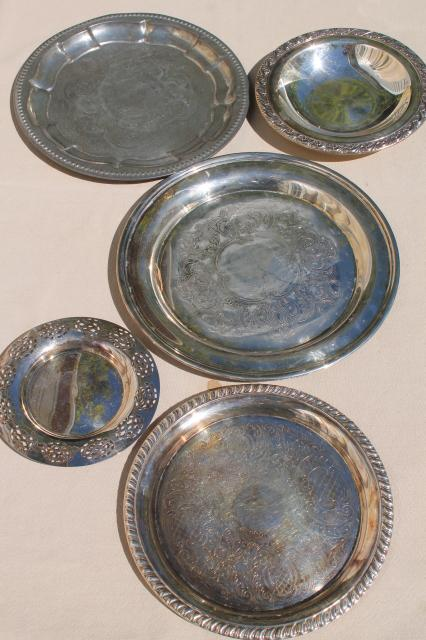 vintage tin tray, silver plated trays, collection of small serving trays, candle trays etc.