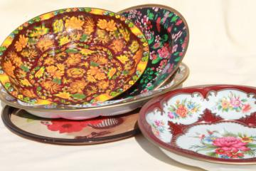vintage tin trays & bowls, floral litho print metal toleware Daher, Nevco
