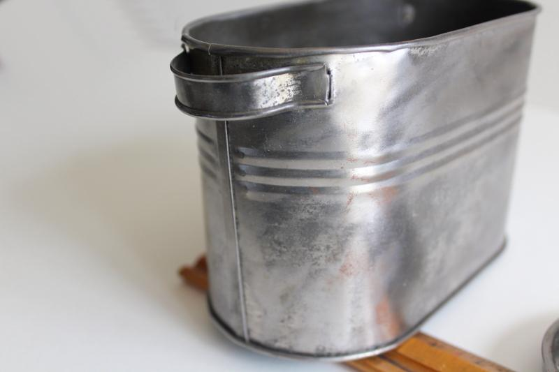 vintage tin tub, doll size metal wash boiler primitive zinc w/ old paint
