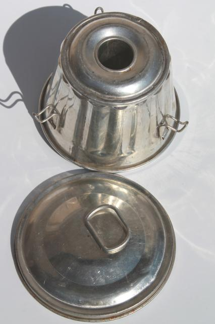 vintage tinned metal mold marked Germany, traditional Christmas pudding mold