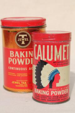 vintage tins Jewel Tea & Calumet baking powder, kitchen food packaging old advertising