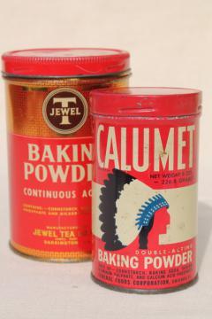 vintage tins Jewel Tea & Calumet baking powder, kitchen food packaging old advertising