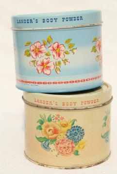 vintage tins from bath powder, pretty flowered vanity boxes from perfume dusting powder