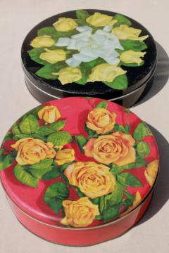 vintage tins w/ roses, rose photo print metal litho tins, 40s 50s retro!