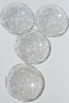 vintage tiny glass butter pats or cup plates, crystal clear pressed pattern glass