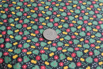 vintage tiny print cotton quilting fabric, yellow cherries & red flowers on black