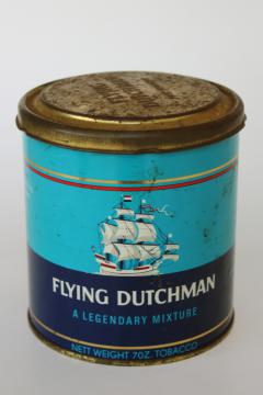 vintage tobacco tin advertising Flying Dutchman tall ship graphics blue & red