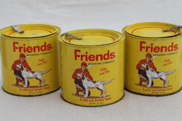 vintage tobacco tins, Friends sporting man w/ hunting dog, rustic cabin style