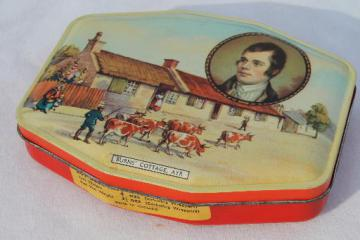 vintage toffee tin w/ scene of Robert Burns cottage, litho print tin from English sweets