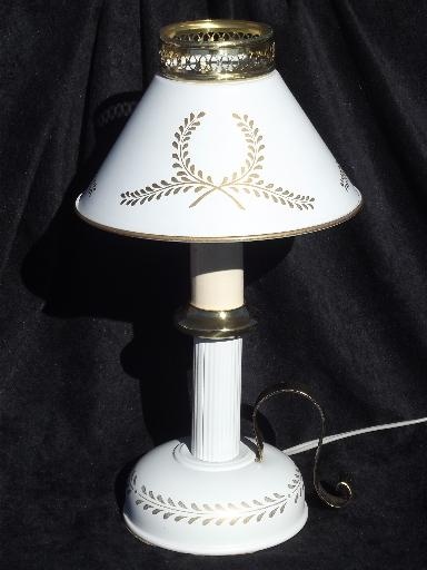 Vintage Tole Candlestick Lamp W Metal Shade Cottage