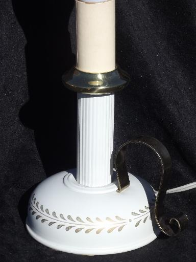 vintage tole candlestick lamp w/ metal shade, cottage white and gold