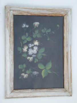vintage tole floral painted tin picture, shabby old white paint wood frame