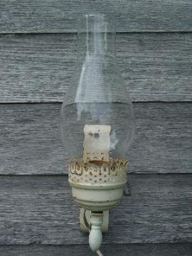 vintage tole lamp sconce, shabby white paint