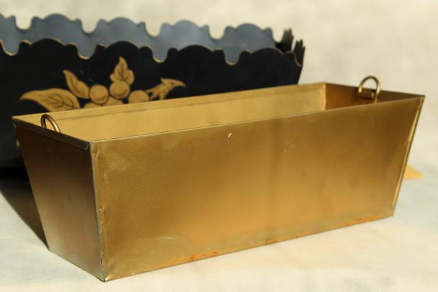 vintage tole metal flower planter box, painted black w/ gold original Georgian label