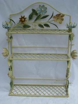 vintage tole metal flowers, shabby cottage chic style whatnot wall shelf