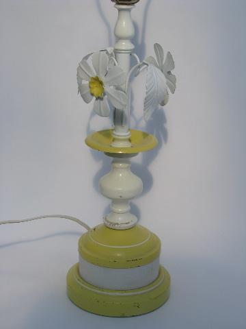 Vintage Tole Metal Flowers Table Lamp White Daisies Shabby Cottage