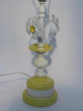 vintage tole metal flowers table lamp, white daisies, shabby cottage chic