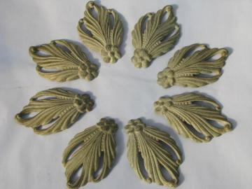 vintage tole metal ornate feather curtain drapery tie-backs, original paint