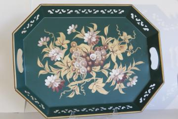 vintage tole metal tray, Pilgrim Art tray hand painted gold & ivory on pine green
