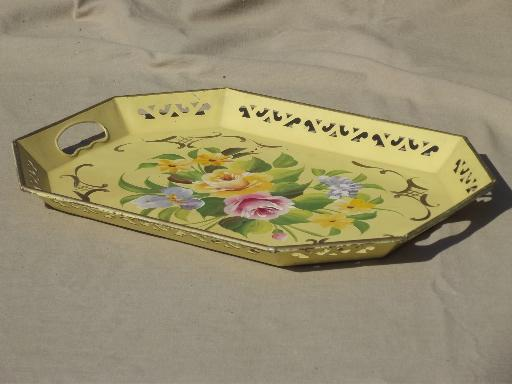 vintage tole tray, flowers on gold hand-painted Pilgrim Art metal tray