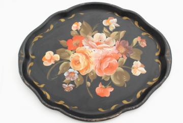 vintage tole tray, hand painted flowers coral pink on black, antique toleware serving tray