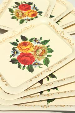 vintage tole trays w/ flowers on creamy ivory, shabby cottage chic tray set