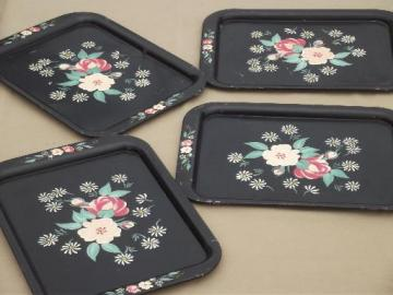 vintage tole trays, shabby  tray set w/ hand-painted flowers on black
