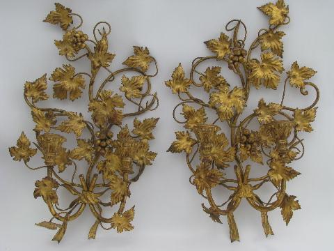 Antique Gold Candle Wall Sconces : vintage tole wall sconces, antique gold w/ gilt wood candle holders