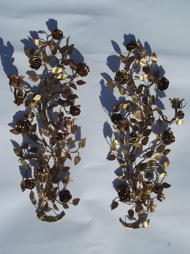 vintage tole wall sconces for candles, old gold roses metal candle holders