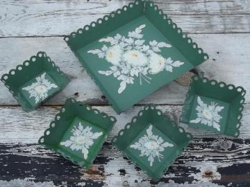 vintage toleware lace edge box bowls, jade green tole painted flowers
