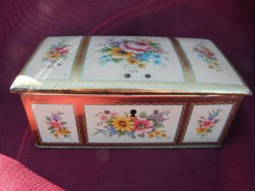 vintage toleware tin jewelry chest or sewing box, English floral tole