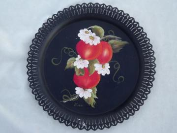 vintage toleware tray, hand-painted apples tole metal tray w/ pierced edge