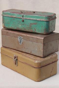 vintage tool & tackle boxes, rustic industrial metal storage box collection