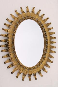 vintage tooled brass metal art wall mirror, bohemian or southwest style gold sunburst frame