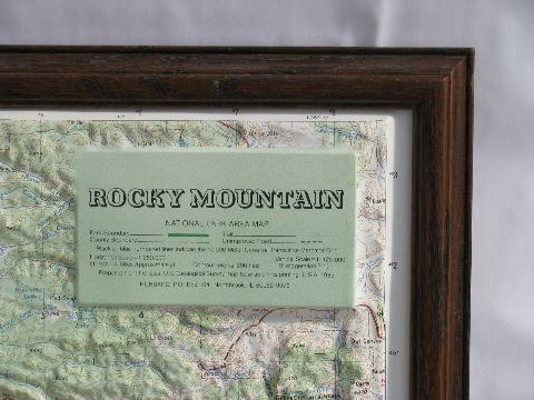 Vintage Topographical Relief Map Rocky Mountain National Park Us Geological Survey