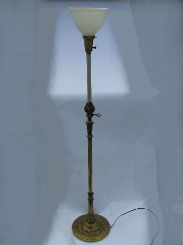 vintage torch flame solid brass torchiere floor lamp, original Stiffel glass diffuser shade