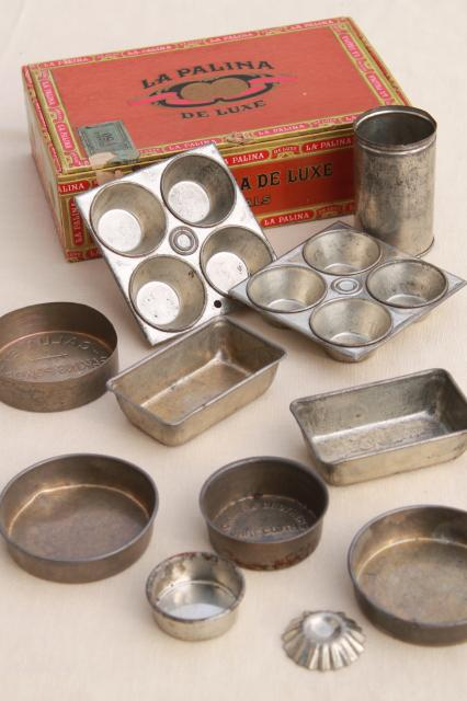 vintage toy kitchen metal baking tins, muffin baking pans doll size miniature working bakeware