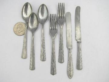 vintage toy silverware, doll dishes child size flatware lot