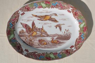 vintage transferware china Thanksgiving Christmas duck platter, flying ducks game birds