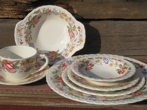 Vintage Transferware China Dishes For 8 Vernon Kilns