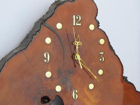 Vintage Tree Slab Wall Clock W Organic Natural Shape For