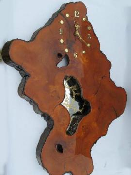 vintage tree slab wall clock w/organic natural shape for rustic cabin