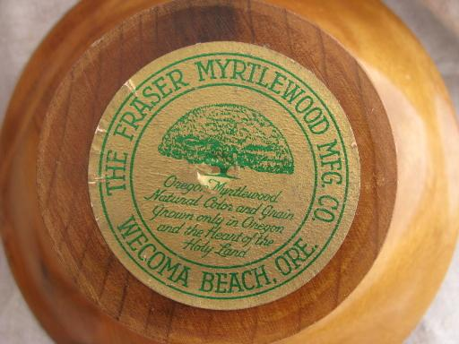 vintage treenware box, pedestal bowl - silky smooth Oregon myrtle wood